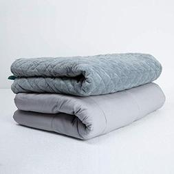 "ZonLi Adult Weighted Blanket Set | 15 lbs | Grey | 60"" × 80"