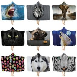 Fashion Animal Hooded Blanket for Adult Kids Winter Warm Fle