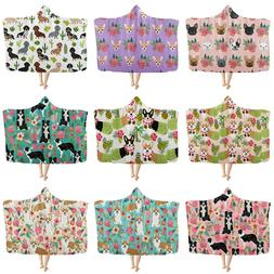 Fashion Floral Dog Hooded Blanket for Adult Kids Thick Warm
