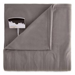 Pure Warmth Fleece Electric Heated Blanket Full Grey