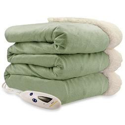 Pure Warmth Heated Electric Throw Blanket Sage with Natural