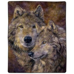 Lavish Home Heavy Fleece Blanket with Pair of Wolves Pattern