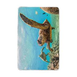 Home Decor Ocean Marine Life Turtle Blankets and Throws Crys