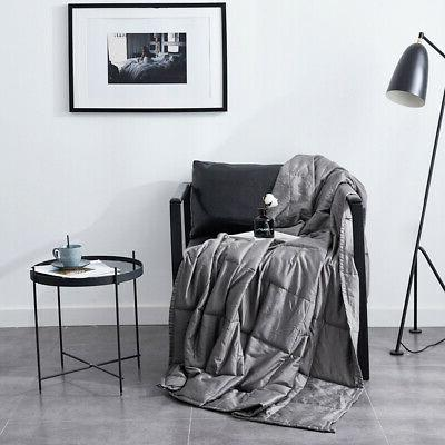 """12 lbs 72"""" Blankets Weighted Adults Glass Bead Gray"""