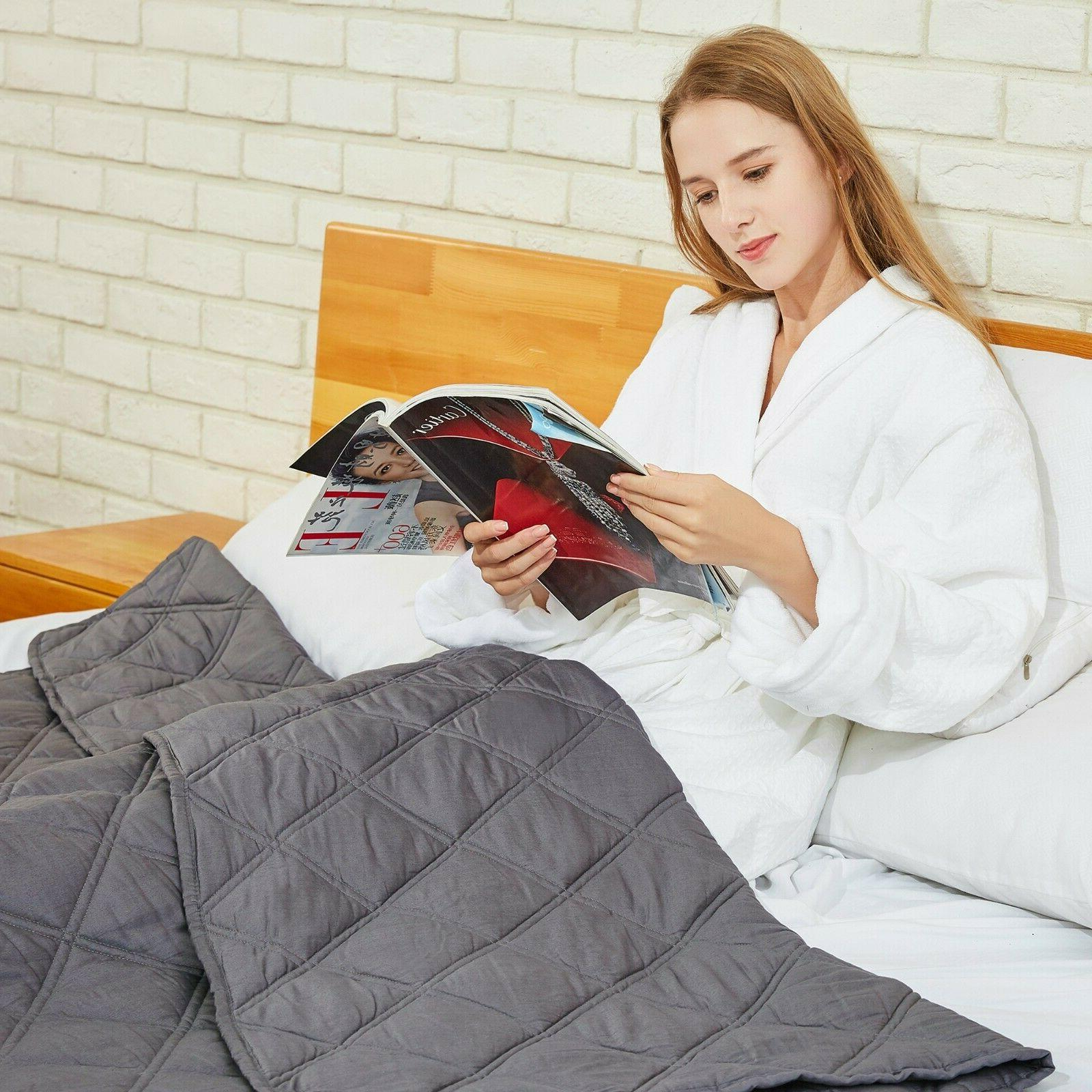 "Cooling Weighted Blanket W/ duvet cover Improved Sleep 60"" x"