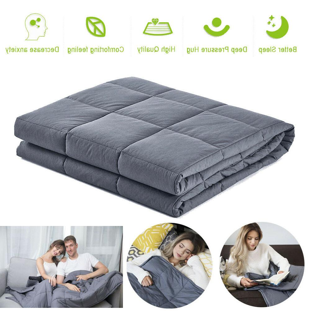 HOT 60''x80'' Weighted Blanket Adult Sensory Anxiety 15 lbs