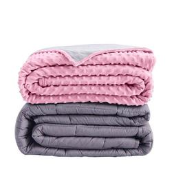 "Mink Pink Duvet Cover and Anxiety Weighted Blanket 60x40"" fo"