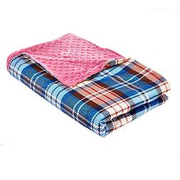 YnM Minky Duvet Cover for Weighted Blankets  -Pink Plaid Pri