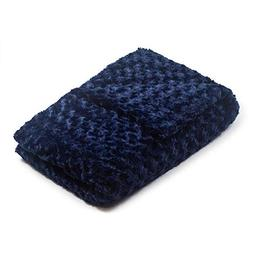 48x78 20 lb Navy Chenille Magic Blanket - The Blanket That H