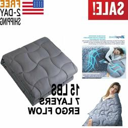 NEW Weighted Blanket 15Lbs 60x80 Adult Queen Size Anxiety 10