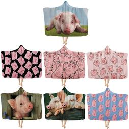 Pink Pig Adroable Hooded Blanket Funny Winter Warm Sherpa Wr