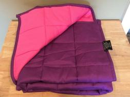 """ZonLi Pink/Purple 5 lb Weighted Blanket 48""""x36"""" 4"""" Sq"""