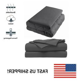 "Premium King Weighted Blanket 25 lbs 86x92"" With Cover and B"
