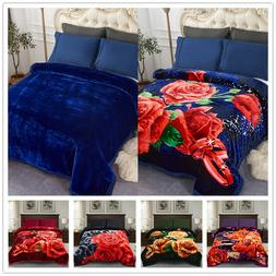 Solid Color & Rose Printed Blanket 2 Different Patter Revers