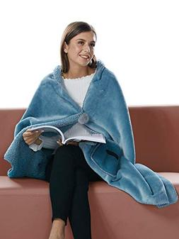 BARGOOS Thick Wearable Blanket Warm Throw Wrap Shawls with P